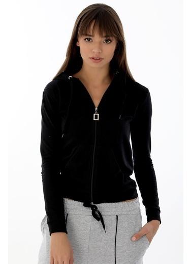 Emjey Kapüşonlu Cepli Ceket Siyah